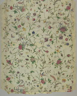 Cream-colored ground with slender intersecting serpentine stems and blossoms of various types and colors, some tied with ribbons in red, dark pink, green, blue, brown, purple, yellow, gray and iridescent paint.