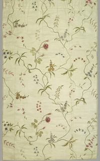 White silk, thin taffeta, painted in colors, in thin, delicate all-over vine design, of roses, small blossoms, berries, buds. Colors red, violet, blue, green, brown; overpainting and shading. Two breadths from a skirt, each 59cm long, shows gathering at top and one breadth seamed at top. Fragment (B) of same.