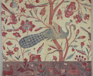 Two pieces which were originally part of a larger panel. Both are made of two separate cloths. A border of fantastic undersea life on a purple background and a field of birds and flowers emanating from a vermicular tree.