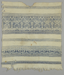 Towel fragment with bands of blue pattern containing confronted unicorns on their hind legs and confronted birds with wheel-like shapes.
