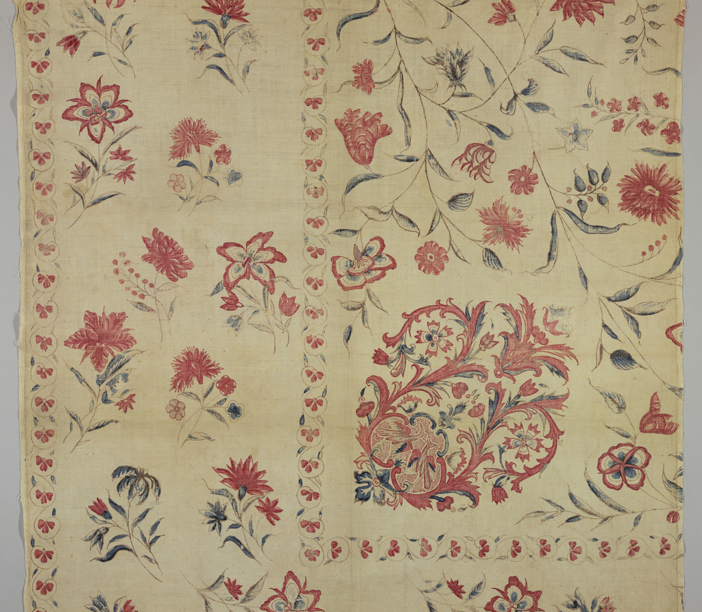 Wide border on two sides with a shaped medallion in the inner corner. Polychrome on white. 