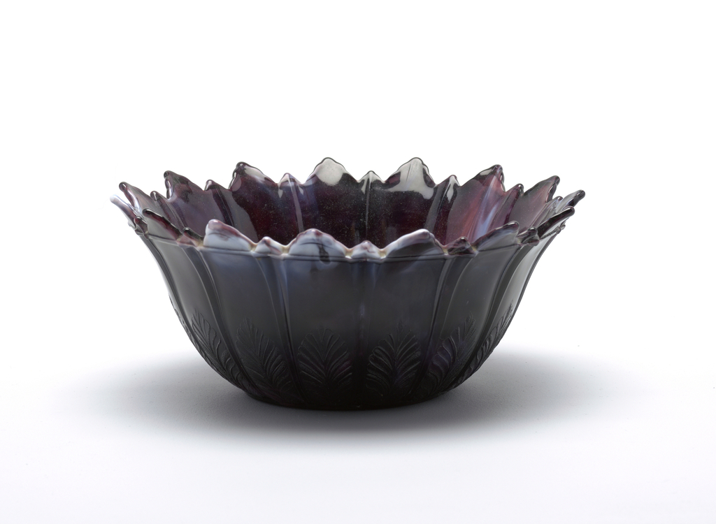 Dark purple and white glass bowl