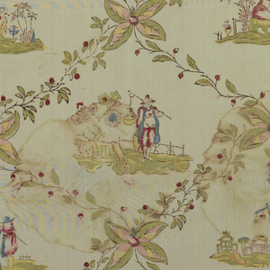 Fine ivory (probably originally white) silk plain cloth ground with large lozenges formed by diagonally crossing lines of small green vine with red berries. Large four-petalled blossom at each intersection of diagonals. Four diffferent small-scale scenes in centre of lozenges. Each has landscape background. with figures in Oriental costume. both selvages present.