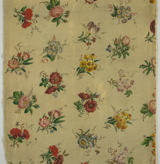 Length of painted cotton velvet upholstery fabric with offset rows of naturalistic flowers including jonquil, tulip, rose, lilac, daisy and morning glory and others which do not systematically repeat.