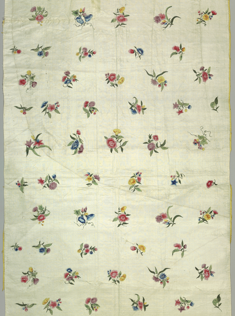 The panels were once part of an 18th century dress. 'A' came from the front of the dress, 'B' came from the back. 'A' has a curved bottom for the dress opening.  The design is of isolated sprigs of flowers and berries.
