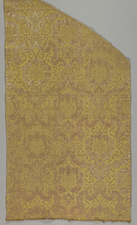 Panel of brocatelle in rose, yellow and white.