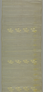 a) Row of medium-sized floral sprigs alternating with group of four rows of large, widely spaced coin-sized dots, brocaded in white cotton on sheer undyed piña cloth ground, in which coarse screen effect is obtained by grouping five warps closely, alternating with isolated single one; wefts same. Two plain selvages. Purchased in a Manila market.