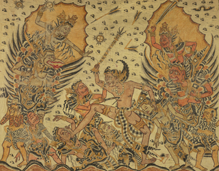 Painted hanging picturing Bhima, the central heroic figure, fighting forces of evil which are being directed by winged figures on the left and right. Predominately reds and yellow on white cotton.