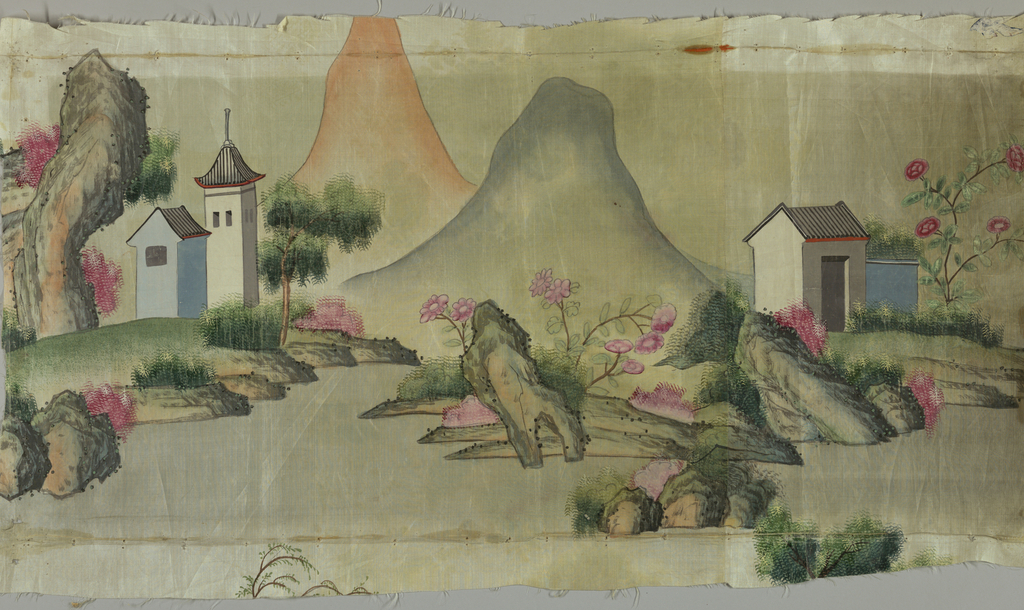 Oblong panel of taffeta painted in polychrome with design of rocks, mountains, buildings. Part of a larger panel.