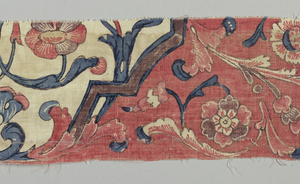 Three strips which were originally part of a large bordered panel. Parts of medallions on a red ground.