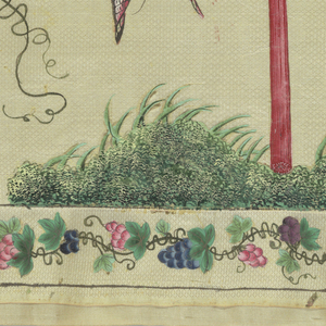 Polychrome painted design on a cream colored ground. A border of grape-and-vine motif is on the two small sides and along the bottom length. The design consists of a central unit of landscape with rock and grass and a large basket of flowers; on each side is a tree with flowers and fruit, birds and a basket with a tassel hanging from a branch.