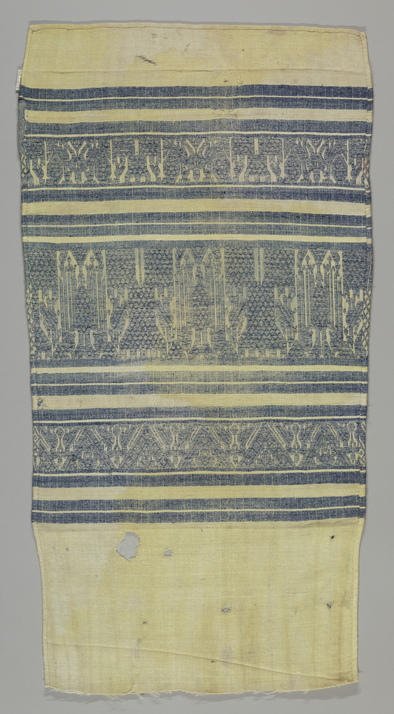 Bands of pattern containing a double-headed eagle and a castle with peacocks.