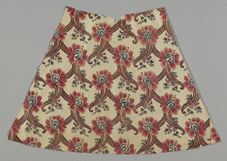 Wedge-shaped piece of fine firm cotton cloth with medium-scale design of stylized flower heads on top of  grace-fully curving cornucopia forms decorated with graduated dots and a little sprig of blue berries.  These forms are planned to curve left in one horizontal row and right in the next, and a serpentine band of the same reddish brown as the cornucopias underlays each vertical row so that an ogival ground plan accented with flower-heads is suggested.  Shades of rose-red, blue, yellow and green (blue over yellow), violet; black and red outlines; gold leaf on wax or gum base outlining major parts of design.  Lined with plain white silk.