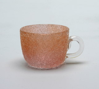 Rose, peach glass cup with clear glass handle