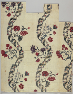 Curving floral stripes of carnations and roses in an alternate arrangement of motifs.