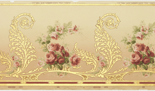 "Scrolling acanthus motif with ""S"" curve alternates with rose bouquet with similar shape. Background shades from light tan at top to darker tan at bottom. Printed in metallic gold, red, and green."