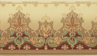 Elaborate tulip design with each enclosed in a medallion, alternating tulip on stem with just the flower. Horizontal stripe pattern across lower portion. Printed in metallic colors on tan ground.