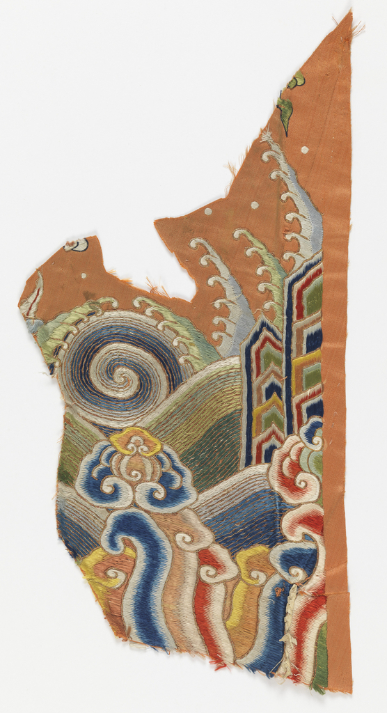 Two fragments from a robe: (a) from close to the hem showing wave forms, and (b) from the field showing stylized clouds. In polychrome silks on an orange ground.