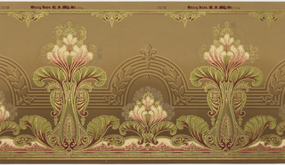 Horizontally repeating pattern of short and tall groups of stylized lotus blossoms. Clouds of smaller flowers frame the lotus blossoms. Art Nouveau style borders run along the top and bottom of the page, and an architectural pattern of reeded archways runs through the middle of the page. Pattern is machine-printed in gold, green, pink, purple, dark red and off-white on a khaki ground.