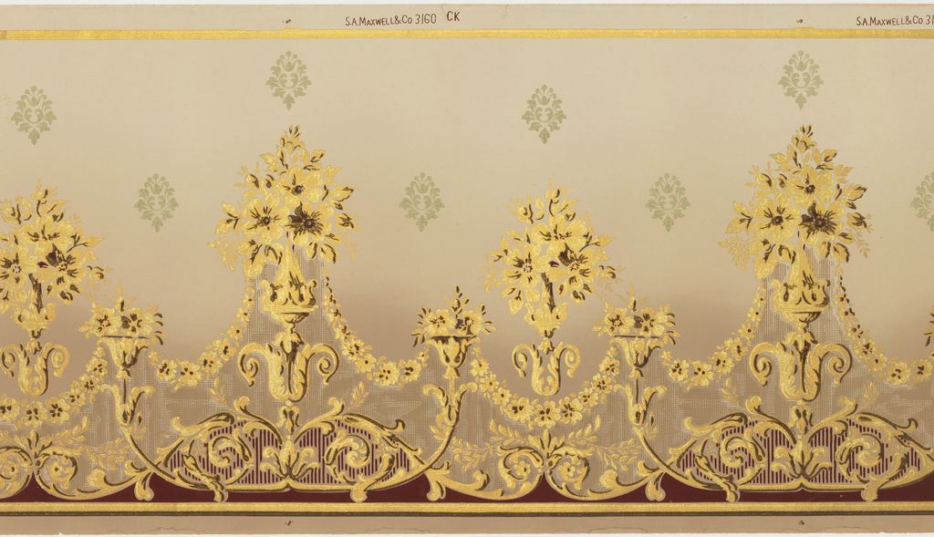 Repeating design of floral bouquets, taller alternating with shorter. Petite bouquet between each of the larger, with all connected by floral swags. Stylized floral motifs in upper portion above bouquets. Lower half of frieze overprinted with brown to darken. Printed in two shades of metallic gold.