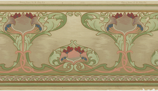 Art nouveau design with large lotus-style flower encased in foliage, alternating with smallery floral motif. All-over mottled ground.