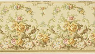 Rose bouquet enclosed within acanthus foliage and floral arch above. Adjacent medallions are connected by fleur de lys. Tellis work along bottom. Printed on tan ground.