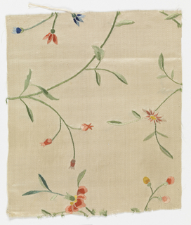 Fragment of white satin embroidered in floral pattern in colored silks.