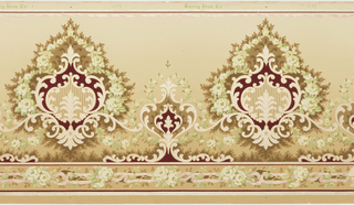 Rococo-inspired frieze with horizontally repeating pattern of alternating large and small medallions composed of scrollwork and floral garlands. The medallions rest atop a bottom border of roses linked with chain-like branches. Pattern is machine-printed in dark red, white, browns, pale yellow, pale pink and pale green on a tan ground.