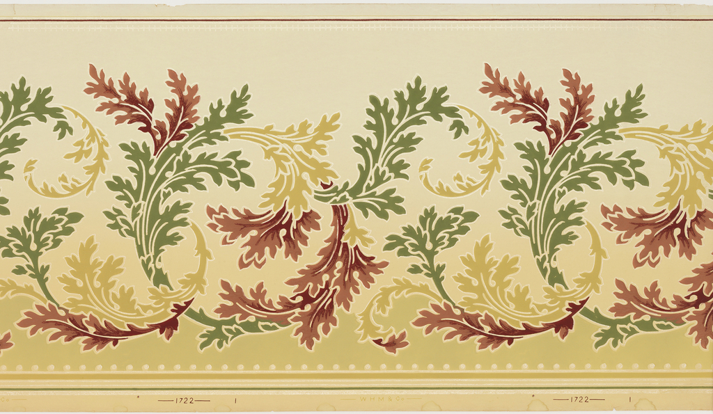 Design of scrolling acanthus foliage, changing in color from green to deep red to yellow ocher. Strung beads across bottom edge.