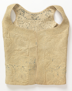 Bodice with outline design shaped to the pieces of the vest. Stufing is both blue and white cotton.