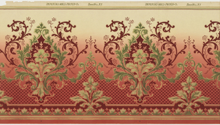 Horizontally-repeating pattern of large medallions composed of scrollwork and acanthus leaves. A diaper pattern fills the space between the medallions, which rest on a bottom border of stylized acanthus. Pattern is machine-printed in greens, tans, and dark red on a background that changes from pink at the bottom to tan at the top of the page.