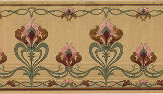 Stylized tulip pattern, alternating with a tall tulip on stem with a tulip flower, each connect by foliage that become swags. Printed on tan ground.