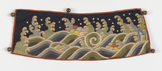 Dark blue satin embroidered and couched with stylized rolling wave design with curling crests; dots, grouped pearls (?), within the waves. In greens, blues, and white, outlined and accented with gold. Lined with salmon pink satin now faded. Five satin button-loops on each band and five small round hollow brass buttons.