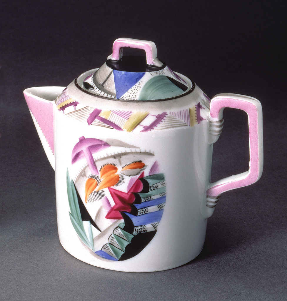 Cylindrical body, with wide spout, square section handle on body and lid; painted decoration of stylized and abastracted machine tools and agricultural motifs