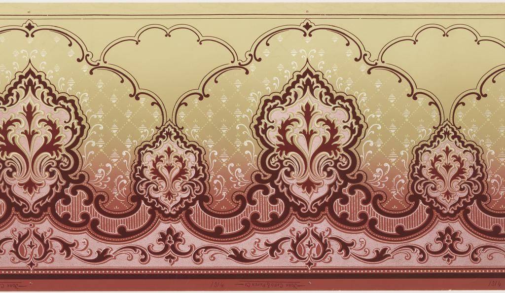Horizontally repeating pattern consisting of alternating large and small medallions composed of stylized acanthus leaves. C scrolls create scalloped borders above and below the medallions, and a diaper pattern fills the space between the medallions and upper border. Pattern is printed in shades of pink, dark red, and white on a graduated background that fades from pink to tan.
