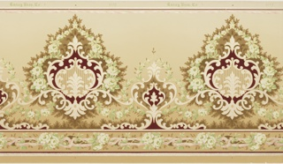 Floral design, alternating large and small floral/foliate medallions.