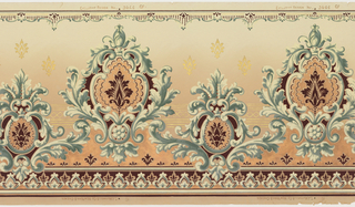 Alternating large and small acanthus medallions with floral motif centered in each. Metallic gold floral motifs in upper background and metallic gold stripes across middle ground. Metallic copper fill in medallions and appearing on lower portion. Background shades from green at top to tan towards bottom.