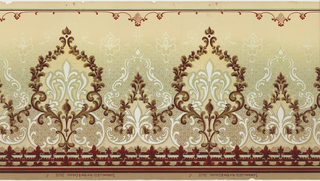 Mica frieze with horizontally repeating pattern of alternating large and small medallions composed of scrollwork, garlands and stylized fleur-de-lis. The bottom edge is bordered by alternating fleur-de-lis and leaf motifs. The medallions are printed over a diaper pattern that ends with blossom terminals. The pattern is machine-printed in browns, greens, whites, tans and dark red on a tan ground.