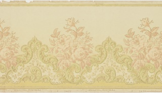 Stylized rose alternating with acanthus or foliate medallions. Strung beads along top and bottom edges, also outlining medallions. Printed in soft pink and green on light yellow ground.