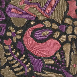 Woman's envelope purse. Embroidered abstract design on fron in purple, pink and taupe. Mirror in interior of bag.