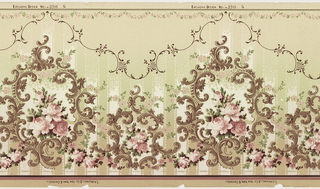 Mica frieze with horizontally repeating rococo-inspired pattern. Alternating large and small medallions composed of acanthus scrollwork and filled with groups of pink rose blossoms. A swag of pink roses runs along the bottom of the page, and a scalloped border of C scroll lifework runs across the top. A pattern of wide, vertical lines goes behind the medallions from the bottom of the page to the top line-work border. Pattern is machine-printed in browns, pinks, reds, greens and white atop a background that fades from tan to green to tan.