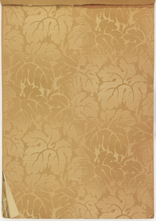 Collection of different designs, each shown in multiple colorway. Patterns for living rooms, halls, dining rooms and bedrooms. Many are shown with matching top and bottom cut-out borders. Some have attached fabric swatch. The samples are arranged with the more expensive in the front of the book.