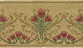 Floral design with large-scale stylized tulips, in groups of three, Secondary design of tulips and foliage printed as silhouettes. All-over patterned ground.