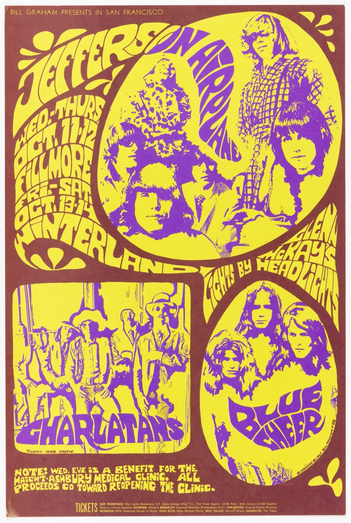 Poster featuring psychedelic yellow and purple design on brown ground. Images of Jefferson Airplane band members framed in circles and a square with engulfing spheres with text: BILL GRAHAM PRESENTS IN SAN FRANCISCO / JEFFERSON AIRPLANE [additional information, date, location].