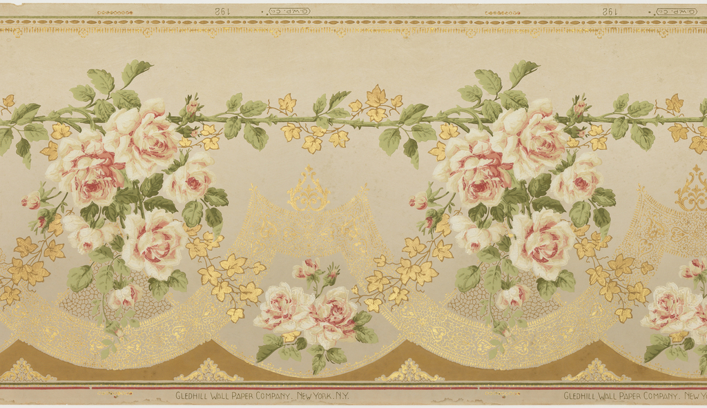 Floral design, with rose stem running horizontal near top with pendant rose clusters, lacy scallops below.