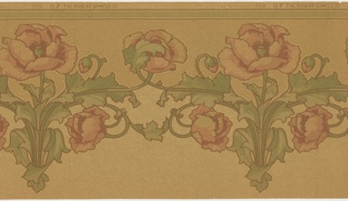 Repeating motif of a large-scale pink poppy. Each motif has a flower intertwined with a leaf on the next motif. The stalk and foliage is in a stylized, very symmetrical arrangement. A light green band runs along the top edge. Printed on a light tan oatmeal paper.