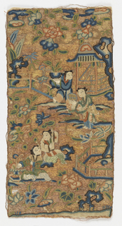 Design of figures and flowers, embroidered in polychrome silks in satin and knot stitch, all spaces solidly filled in with couched gold wound on thread