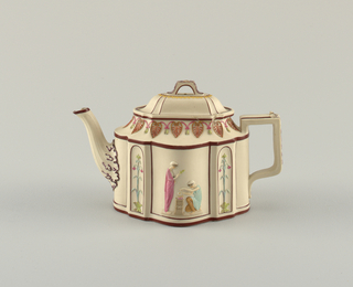 Silversmith's shape: oblong with four bowed panels alternating with four rectangular panels containing niches; long ogee spout, rectangular flat handle. Oblong domed cover with strap handle, sliding in grooves in top of pot. Relief decoration in polychrome showing classical figures in the bow panels; vines in niches; lotus and anthemion band about cavetto shoulder, leaves on handle, spout and cover.