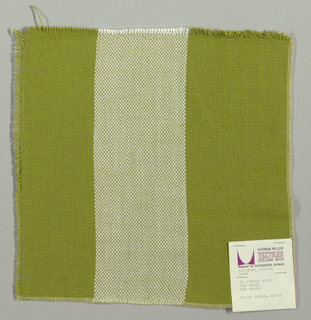Plain weave in wide vertical stripes of olive green and white. Warp threads are olive green and white and weft threads are olive green. Slightly loose weave structure. Number 2043.