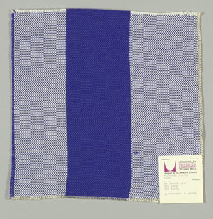 Plain weave in wide vertical stripes of blue and white. Warp threads are blue and white and weft threads are blue. Slightly loose weave structure. Number 2040.
